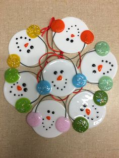 Fused Glass Snowman with Earmuffs Ornaments by BFisherCreations on Etsy