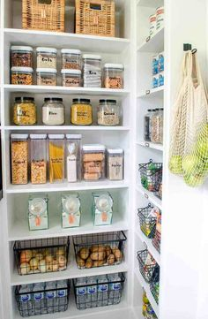pantry shelving So today, I'll walk you through our walk in pantry reveal! We've added tons of storage with shelving and cabinets to keep us organized. Tiny Pantry, Small Pantry Organization, Walk In Pantry, Storage Ideas For Pantry, Walkin Pantry Ideas, Organization Hacks, Organising Ideas, Kitchen Organisation, Household Organization