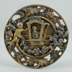 Victorian brass button, sedan chair, cherub, birds & flowers.