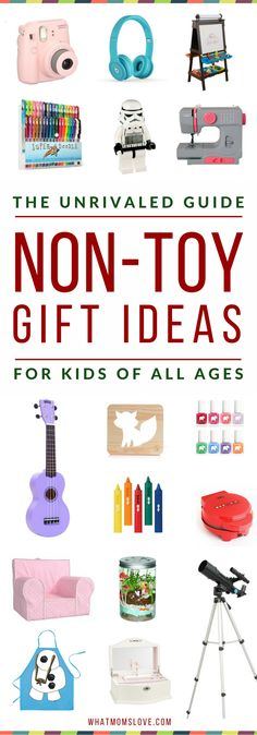 Overloaded with toys? Learn over 200 incredible gift ideas for kids that AREN'T toys in this awesome Non-Toy Gift Guide. Perfect for toddlers to tweens and teens, girls or boys, for Holidays, birthdays and special occasions. Click for fun present ideas PLUS product recommendations, or pin for later | from What Moms Love