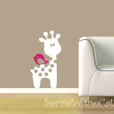 Vinyl Decal - Baby Giraffe Vinyl Wall Art - Giraffe and bird. $28.00, via Etsy.