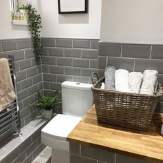"We've seen quite a few metro tiles in white with grey grout. Here we see grey tiles with white grout. We have taken delivery of new tiles…"" Grey Grout Bathroom, White Tiles Grey Grout, Metro Tiles Bathroom, Grey Wall Tiles, Bathroom Interior, Small Grey Bathrooms, Gray And White Bathroom, Upstairs Bathrooms, Downstairs Bathroom"