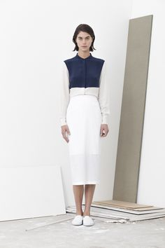 Avery two tone shirt worn with Polly laser cut pencil skirt
