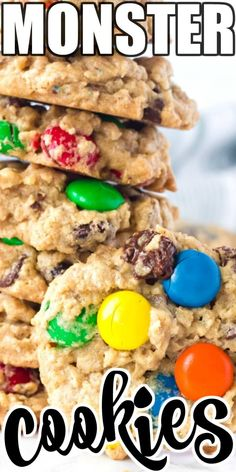 Monster cookies stuffed full of chewy oats, savory, peanut butter, sweet chocolate chips, and M&M's are the perfect dessert solution! Best Dinner Recipes, Best Cookie Recipes, Great Recipes, Favorite Recipes, Easy Recipes, Healthy Recipes, Fun Desserts, Delicious Desserts, Dessert Recipes