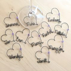 Personalized Bridesmaid Gift, Bridal Shower Party Favors, Bridal Party Wedding favors, Personalized Wine Charms, Party Favors - Best Do It Yourself (DIY) Ideas Bridal Shower Party, Wedding Party Favors, Bridal Shower Decorations, Bridal Showers, Wire Crafts, Jewelry Crafts, Bead Crafts, Wire Ornaments, Personalized Bridesmaid Gifts