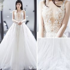 Modern / Fashion Ivory See-through Wedding Dresses 2018 A-Line / Princess V-Neck Sleeveless Backless Appliques Lace Pierced Ruffle Chapel Train