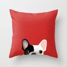 Cute French Bulldog Pillow Stunning Decorative Pillow Case Throw Pillow Red Sham #Handmade #Novelty