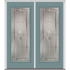 Milliken Millwork 74 in. x 81.75 in. Master Nouveau Decorative Glass Full Lite Painted Majestic Steel Exterior Double Door, Riverway