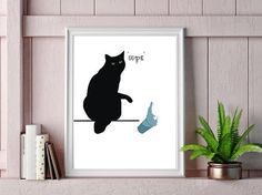Funny Black Cat Oops Print Art Print Poster