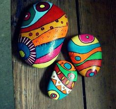 Painted  color design on stones