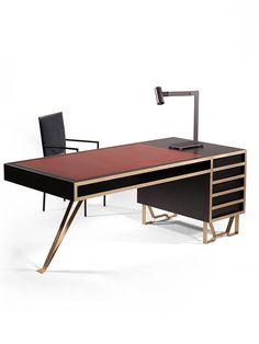 Tropical Furniture, Unique Furniture, Office Furniture, Furniture Design, Office Interior Design, Office Interiors, Modern Interior, Modern Wood Desk, Chic Office Decor
