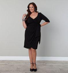 Harlow Faux Plus Size Wrap Dress - by Kiyonna