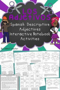 Interactive notebook templates for learning and practicing Spanish Descriptive Adjectives. ✿ #Spanish #learning #Teaching #spanishlanguage #spanishvocabulary #easyspanish #spokenspanish  ✿ Share it with people who are serious about learning Spanish!