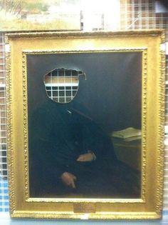 """who hasn't wanted to do this to their professor?!!!  """"there is a headless portrait of a University professor in the art collection that makes me laugh!"""". Museum of St Andrews University."""