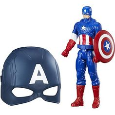 """Marvel Titan Hero Series Captain America Figure and Mask Bundle Walmart Exclusive. Includes figure, shield and mask mask has band to fit most ordinary mortals 12"""" titan hero captain america figure imagine suiting up for gigantic super hero showdowns."""