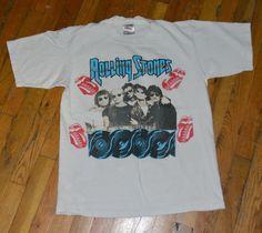 RaRe *1989 ROLLING STONES* vtg rock concert tour t-shirt (L) 80s w/ Guns N Roses | eBay