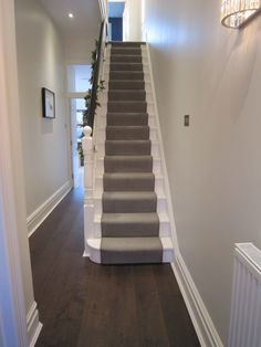 A MyCasainteriors renovated Victorian hallway with stair runner Carpet Staircase, House Staircase, Staircase Design, Carpet Runner On Stairs, Staircase Runner, Modern Staircase, Stair Runners, Hallway Runner, Stair Railing