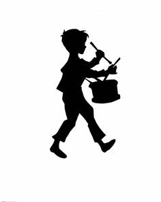 Little boy with a frog silhouette | One of my earliest decorative silhouettes