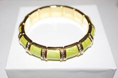 Joan Rivers Green Leather and Crystal Stretch by SCLadyDiJewelry