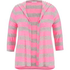 maurices Plus Size - Wide Striped Open Front Cardigan With Hood