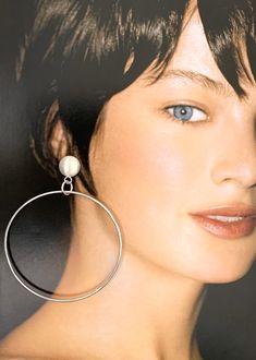 Sterling Silver, Large Hoop Earrings. Dangle/Drop Earrings. Statement, Designer Earrings. Minimalist Earrings. Sterling Silver Hoops, Silver Hoop Earrings, Statement Earrings, Silver Jewelry, Drop Earrings, Hanging Necklaces, Earrings Photo, Wide Rings, Minimalist Earrings