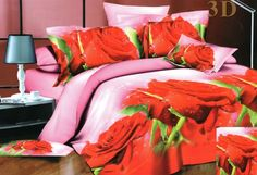 Posteľné obliečky s motívom Bedroom Bed, Bedroom Decor, Bedrooms, Red Roses, Bedding Sets, Comforters, Furniture, Blankets, Home Decor