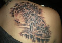 wolf tattoos for women | 29 Delicate Back Tattoos For Women For 2013 | Creative Fan