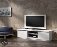 Mueble pala la televisión con panel TV giratorio color Blanco combinado con el color Gris Pardo del módulo hueco