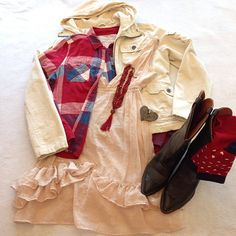 14 Days of Valentines. Day 8. Cowgirl up! How a cowgirl might celebrate Valentine's Day. Combined a romantic pale pink ruffled dress with a plaid flannel. Finished off with a hooded coat, black cowboy boots. Accessorized with heart socks, a heart bracelet and a red beaded necklace. #thriftscoring #thriftstore #assistanceleagueoffullerton #valentinesdayoutfit #valentinesday #cowgirl #cowgirlup #cowboyboots