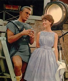 Kirk Douglas and model 1960 on the set of Spartacus
