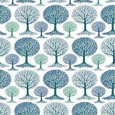 winter trees fabric design by Kez Walsh / kezia on Spoonflower