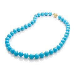 """18-karat yellow gold Turquoise, 11 mm Diamonds Overall length: 20"""" L Hand-knotted on fine silk thread Matte Gold Ball Clasp with Diamonds, 7800"""