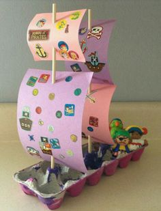 Pirate ship craft with egg carton and construction paper. Fun kid craft for pres… Pirate ship craft with egg carton and construction paper. Fun kid craft for preschoolers. Kindergarten Crafts, Preschool Crafts, Pirate Crafts, Pirate Ship Craft, Pirate Ships, Cardboard Pirate Ship, Egg Carton Crafts, Milk Jug Crafts, Create And Craft