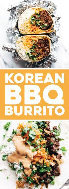 Korean BBQ Burrito - an easy food-truck-style recipe you can make with a slow cooker! spicy beef, kimchi, rice, cilantro, and sriracha mayo in a soft flour tortilla. Asian Recipes, Beef Recipes, Mexican Food Recipes, Cooking Recipes, Healthy Recipes, Healthy Food, Spicy Food Recipes, Easy Korean Recipes, Kale Recipes
