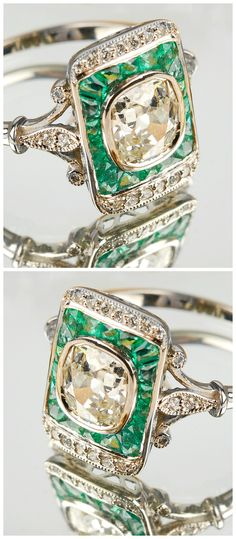 This antique emerald and diamond ring is so, so pretty! I think it would be an incredible alternative engagement ring.