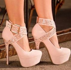 Light pink stilettos with hidden platform soles and sparkling buckled ankle straps and heels pink Shoes With Sexy Heel and stud Design high heel shoes for women Zapatos Shoes, Women's Shoes, Me Too Shoes, Shoe Boots, Louboutin Shoes, Ugg Boots, Christian Louboutin, Shoes Style, Ankle Boots