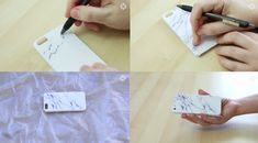 Create a white marble using a gel pen. | 17 Cheap And Easy DIY Phone Cases You Can Make At Home Right Now