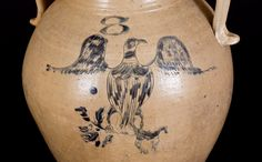 Fine 8 Gal. Open-Handled Stoneware Water Cooler with Incised Eagle Decoration, Ohio Origin