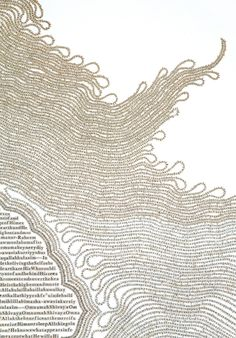 """Drawings"" created from cutting out thousands of letters from books and religious texts by Meg Hitchock - detail"