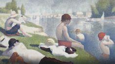 DOC. CULTURA - Fra il 1883 e il 1884 Georges Seurat realizza un quadro con una nuova tecnica che consiste nell'accostare punti di colore senza mescolarli in precedenza, 'Bagnanti ad Asnières': una domenica d'estate sulle rive della Senna.