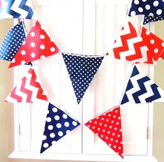 21 Fabric Flag Bunting, 9 Feet Banner, Navy Blue, Red, White, Stars, Chevron, Polka Dots, Boy Nursery, Baby Shower, Patriotic Garland U.S.A....