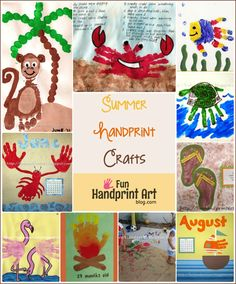 20 Summer Handprint Crafts - Did you know that you can make sand impressions of the kids hands and feet? Would make an awesome vacation keepsake!