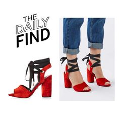 """""""The Daily Find: Topshop Velvet Sandals"""" by polyvore-editorial ❤ liked on Polyvore featuring Topshop and DailyFind"""