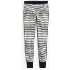 J.Crew Striped Waffle Legging ($65) ❤ liked on Polyvore featuring pants, leggings, legging pants, stripe pants, white trousers, stripe leggings and cocktail pants