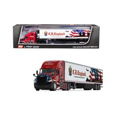 """Freightliner Cascadia New High-Roof Sleeper Cab & Reefer Trailer """"C. England"""" Diecast Model by DCP/First Gear Types Of Roofing Materials, Roofing Options, Kids Power Wheels, Roof Replacement Cost, Fitness Motivation, Asphalt Roof Shingles, Roofing Felt, Custom Big Rigs, Toy Trucks"""