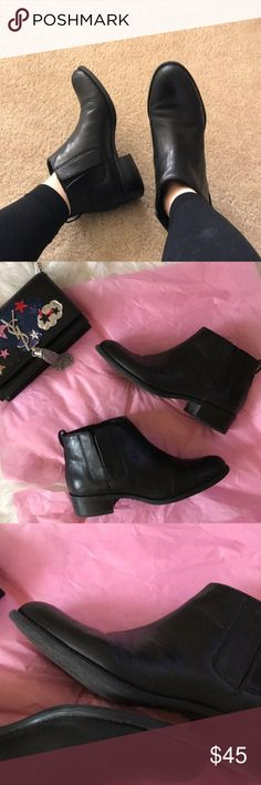 Franco Sarto Black Chelsea Boots These boots are very sharp! They look sleek and sophisticated - great for work or casual. They are a re-Posh in great condition. Pics are from the original seller. Franco Sarto Shoes Ankle Boots & Booties