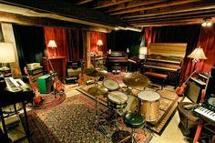 Basement recording studio with vibe