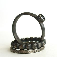Risa Rings  Black Onyx and Sterling Silver Stack by LunasaDesigns, $72.00