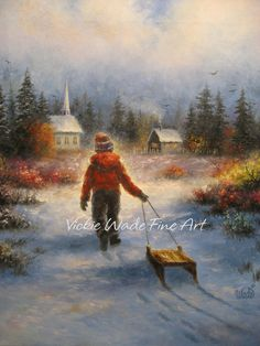 Heading Home Art Print boy sledding paintings church country winter snow sledding, Vickie Wade Art