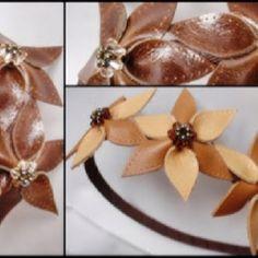 Diademas con flores de cuero